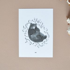 Sleepy little Black Bear Print