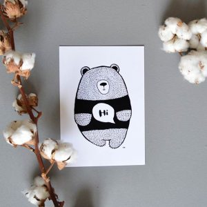 Hi Bear Print by Blackbear&Whitebear
