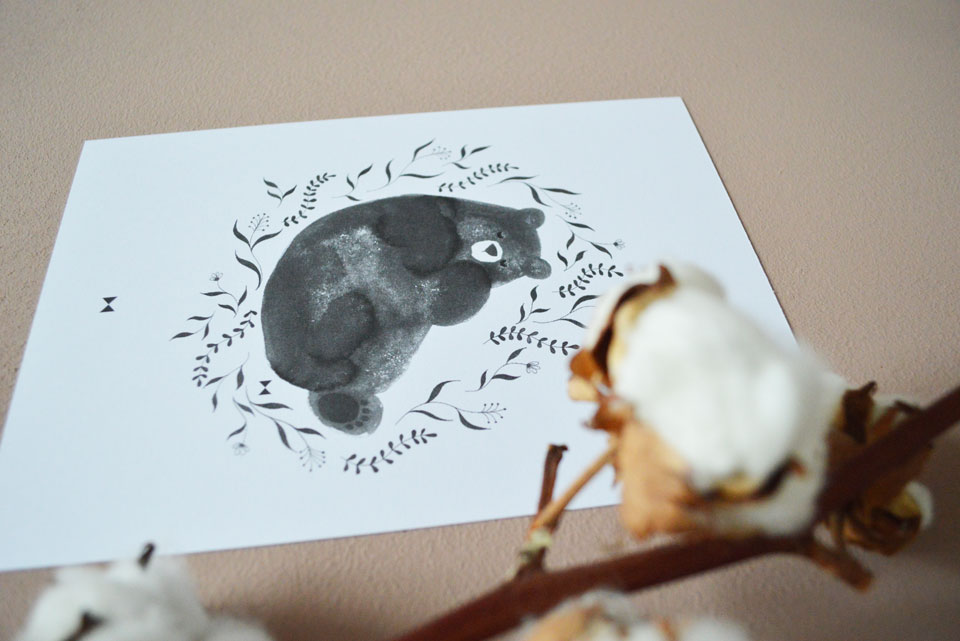 Little Black Bear Close Up Print