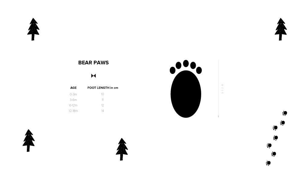 Size chart paws