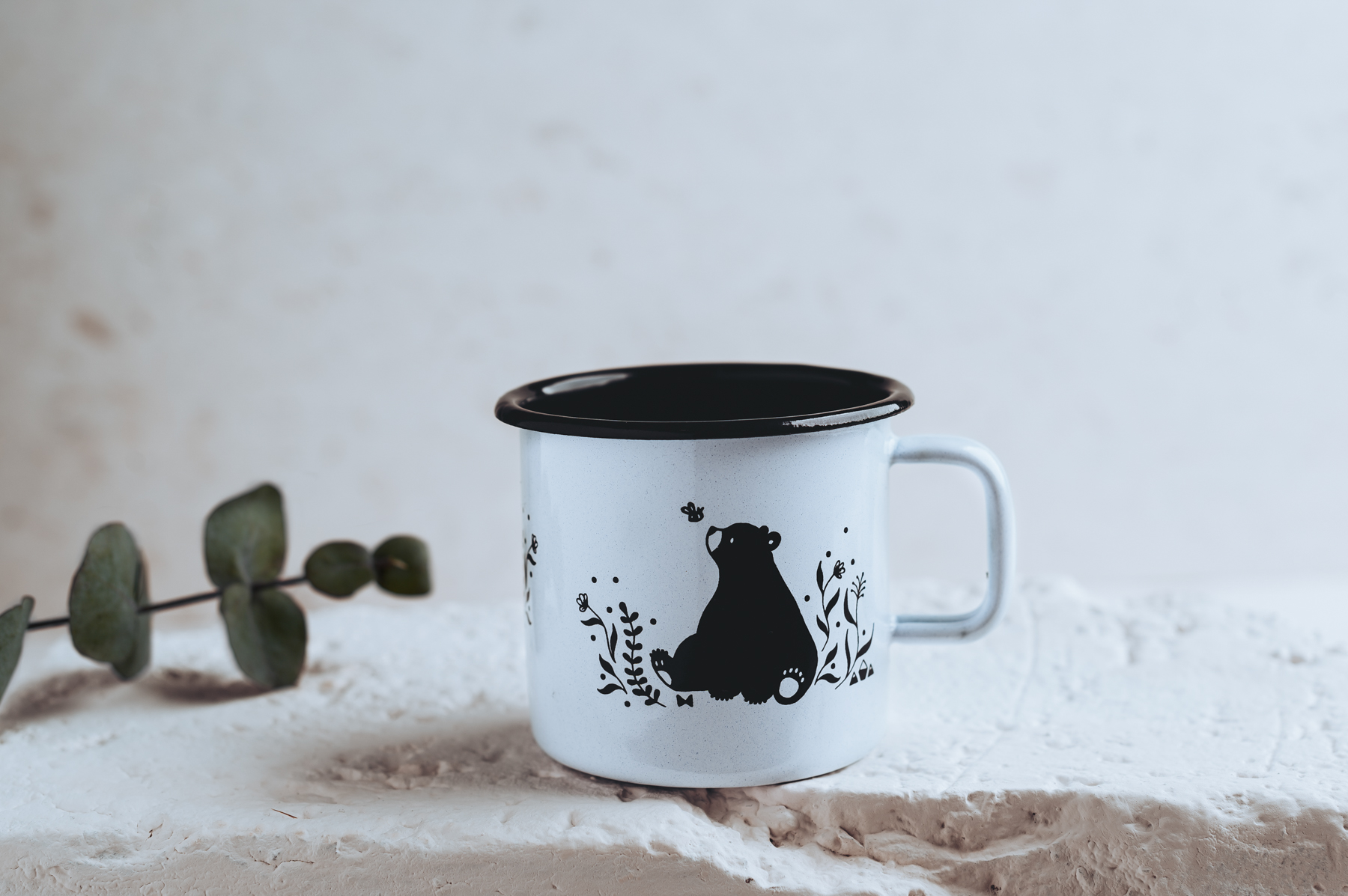 coffee mug bear vintage enamel illustration mug cute