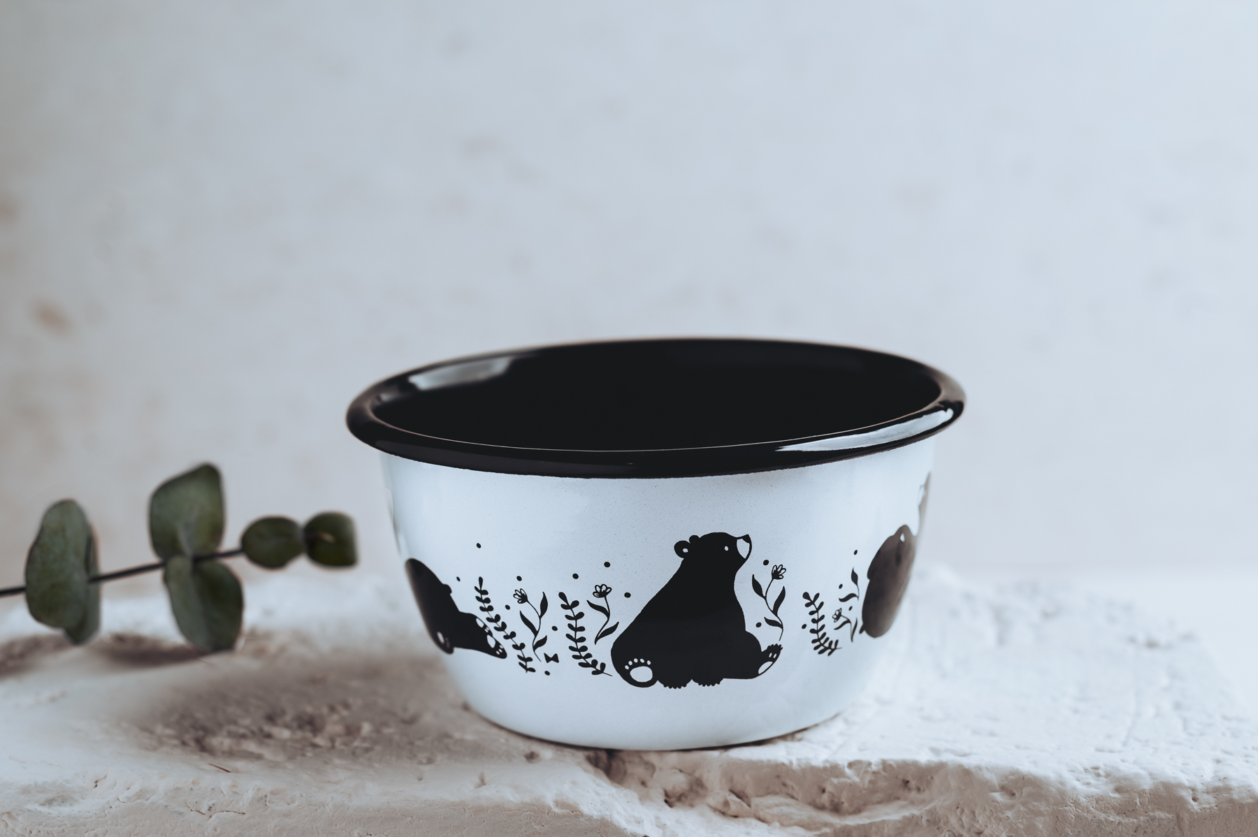 cute enamel cereal bowl illustration rolling bear breakfast set
